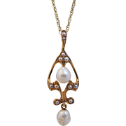 Antique Art Nouveau 14K Gold Cultured Seed Pearl Lavalier Pendant Necklace
