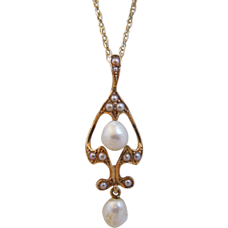 Antique Art Nouveau 14K Gold Cultured Seed Pearl Lavalier Pendant Necklace
