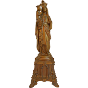 French Metal Statue Of Saint Anne De Beaupre & Virgin Mary, Circa 1920
