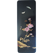 19th Century Antique Japanese Mother Of Pearl Lacquer Box With Floral And Butterfly Motif