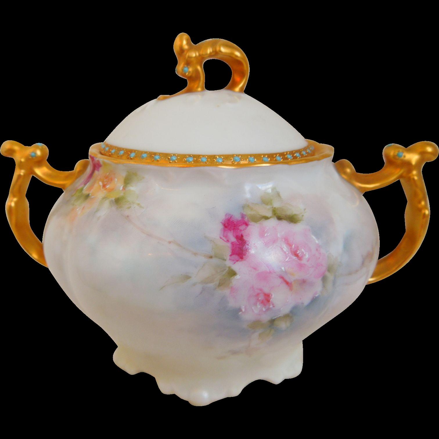 Limoges Jean Pouyat, JPL, Porcelain Sugar Bowl With Roses, Gold Gilt, Enamel, Artist Signed, Circa 1890-1932