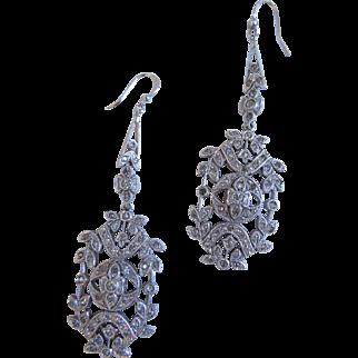Vintage Sterling Silver Rhinestone Dangle Pierced Earrings, 1930's or 1940's