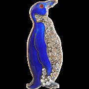 Vintage Cobalt Blue & Rhinestone Enamel Penquin Figural Pin or Brooch, 1930's