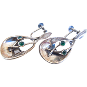 Mid-Century Silver And Chrysoprase Swedish Earrings, Signed, Stockholm, Gk Smycken, Screwback