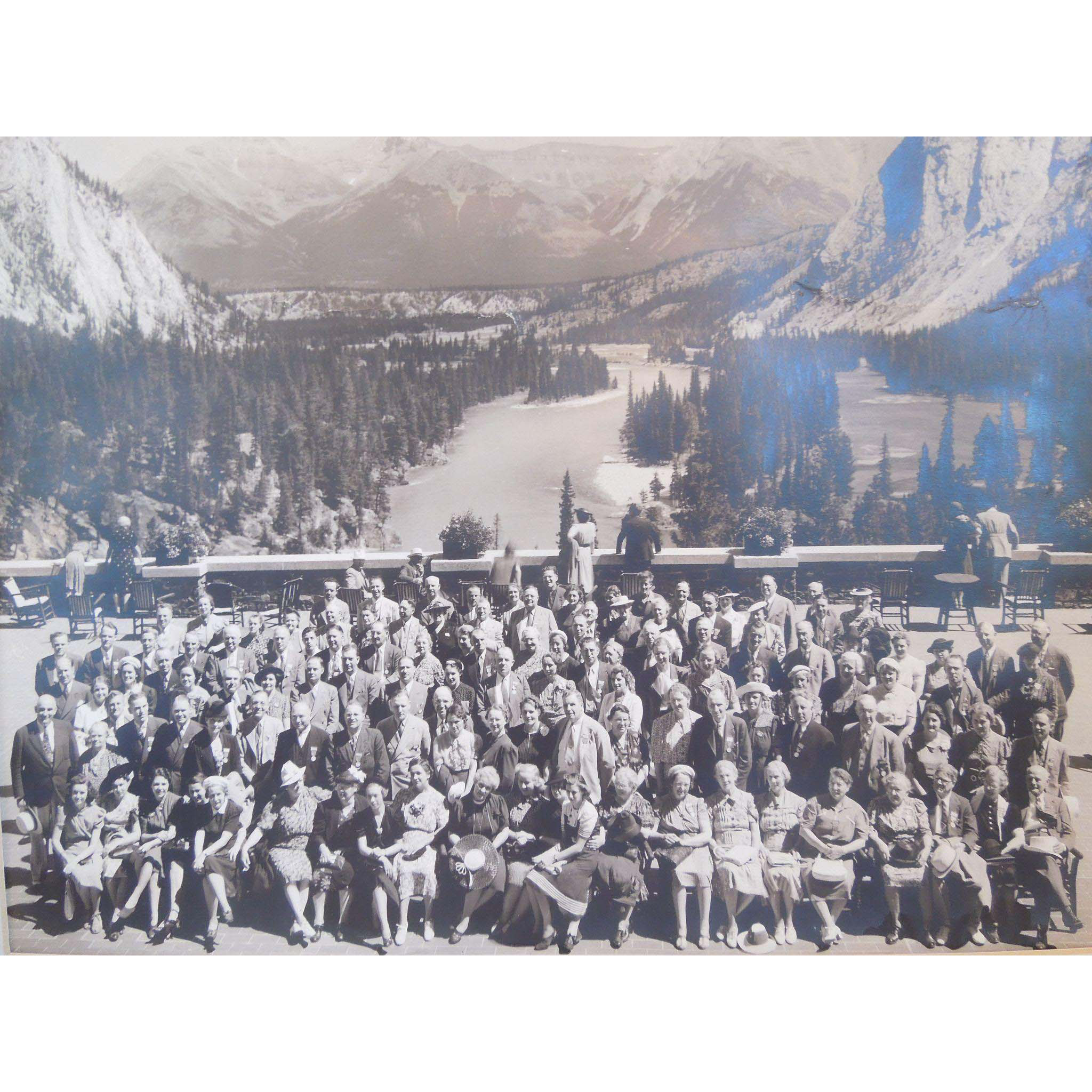 Vintage Panoramic Photograph Of Group On A Terrace At Lake Louise,Glacier, Alberta, Canada, 1930's, 1940's