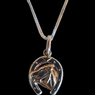 Vintage Italian Necklace With Horseshoe Pendant, 14K