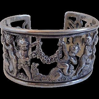 Vintage Sterling Cherub Putti Cuff Bracelet By Parenti Sisters, Boston, Mass.