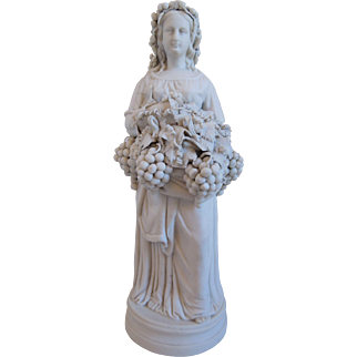 Antique 19th Century Large Neo-Classical Porcelain Parian Bisque Statue Of Woman With Grapes, Winemaking