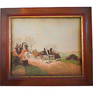 19th Century Chromolithograph Print Of Royal Mail Coach, Leeds Of London, With Hunting Scene And Hounds