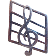 Vintage Sterling Mexico Treble Clef Musical Note Pin Or Brooch