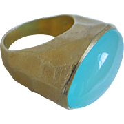 Vintage Sterling Silver Gold Vermeil Chrysoprase Modernist  Ring