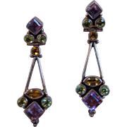 Vintage Sterling Silver  Amethyst Peridot Citrine Pierced Earrings, India