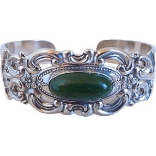 Vintage Sterling Silver Towle Grand Duchess Cuff Bracelet With Nephrite Jade Stone