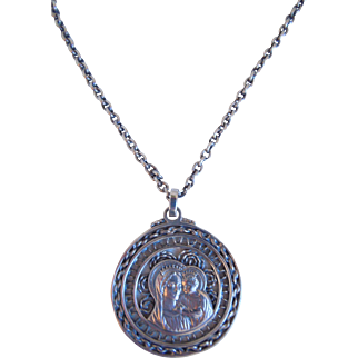 Vintage Sterling Silver Filigree Religious Pendant Necklace With Madonna And Child By Parenti Sisters, Boston, Mass.