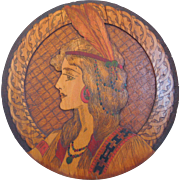 Art Nouveau Hand Painted Pyrography Round Wood Plaque Of Native American Woman, Flemish Art, Circa 1910, 1915