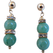 Vintage Jadeite Jade And Crystal Rhinestone Rondelle Drop 14K GF Pierced Earrings