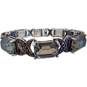Art Deco Style Sterling Silver Faceted Smoky Quartz Bracelet With Marcasites