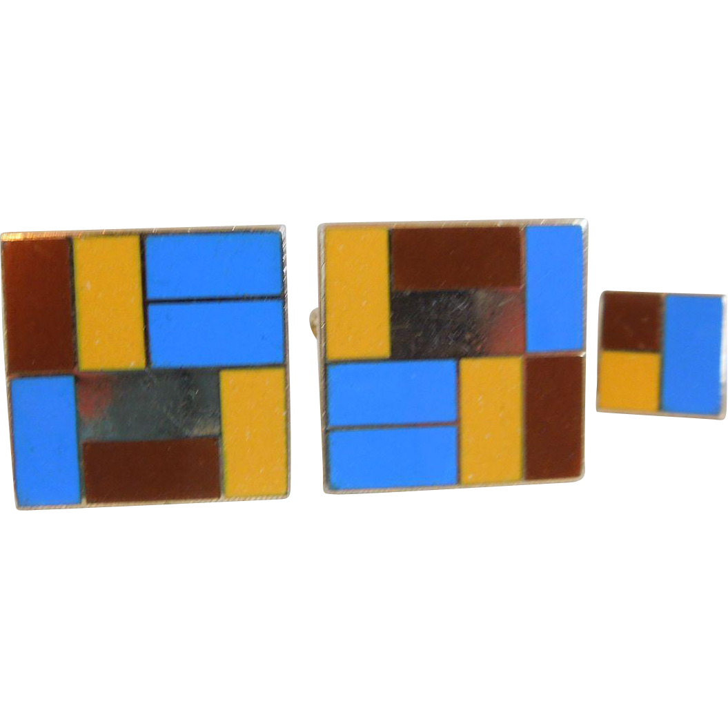 Vintage Destino Modernist Enamel Cuff Links and Tack Set, 1960's