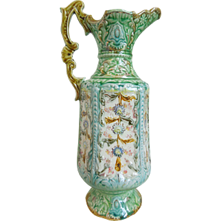 19th Century Large Majolica Pitcher With Floral Design