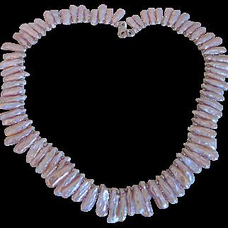 Vintage  Large Sterling Freshwater Stick Biwi Pearl Necklace