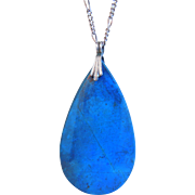 Vintage Sterling SIlver Large Teardrop Denim Lapis Pendant Necklace