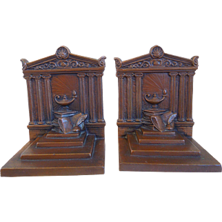 Vintage Art Deco Bronze Weidlich Brothers, Book Of Knowledge Quill Pen, Bookends, Circa 1920's