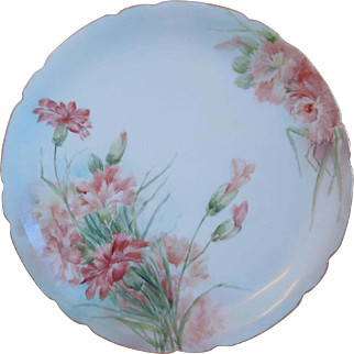 Antique Limoges (JP) Jean Pouyat Porcelain Hand Painted Plate With Floral Motif, Artist Signed, Circa 1903