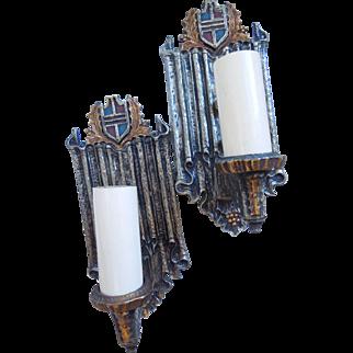Vintage Pair Of Brass Tudor, Heraldic Shield, Wall Sconces, Circa 1920's