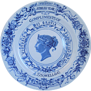 Antique Royal Worcester Blue Porcelain Queen Victoria Jubilee 1887 Plate