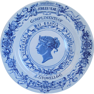 Antique Royal Worcester Blue Porcelain Queen Victoria Jubilee 1887 Plate
