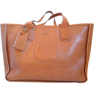 Vintage Ghurka Marley Hodgson No. 71 Leather Chestnut Stadium Tote Bag