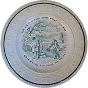 "19th Century Early English Staffordshire Child's ABC Plate With Verse, ""For Age And Want Save While You May No Morning Sun Lasts All Day"""