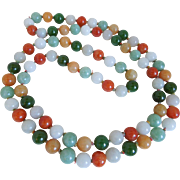 "Vintage Jadeite Jade Multi Colored Necklace, 34"", 1950's"