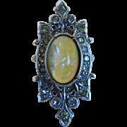 Art Deco Sterling Dragons Breath Opal Glass & Rhinestone Ring