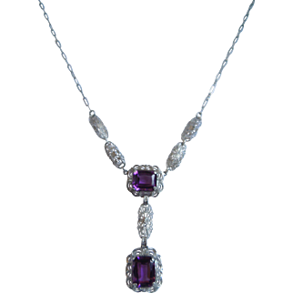 Art Deco Sterling Silver Lavalier Amethyst Necklace