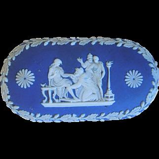 Antique Wedgwood Blue & White Neo-Classical Jasperware Trinket Box