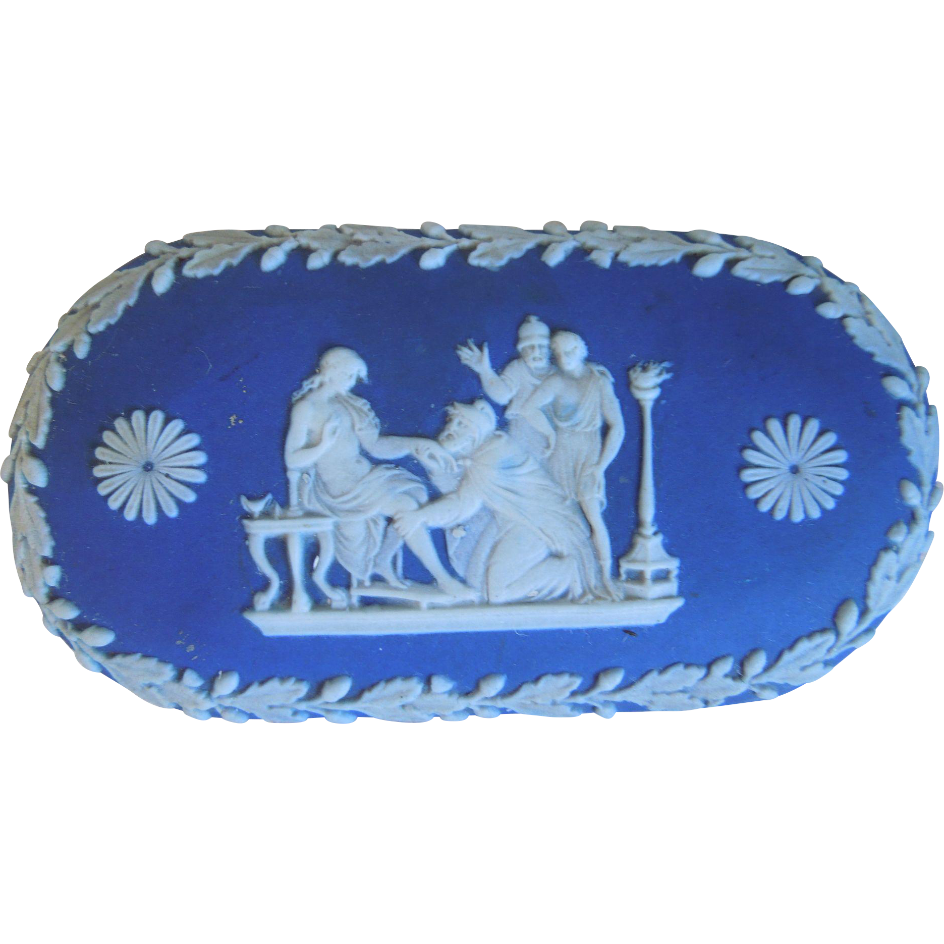 Antique Wedgwood Blue & White Neo-Classical Jasperware Trinket Box