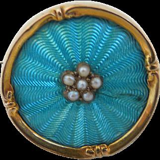 Art Nouveau English Blue Guilloche Enamel & Seed Pearl 9K Gold Pin Brooch, Hallmark 1906