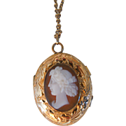 Antique Carved Shell Gold Filled Cameo Double Sided Locket Necklace