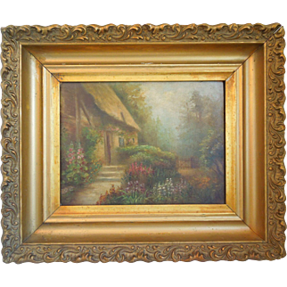 Antique 19th Century Oil Painting Of Country Landscape With Cottage Scene, Artist Signed