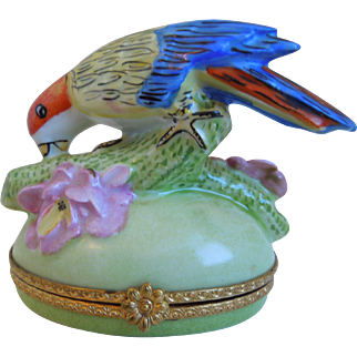Large Limoges Porcelain, Petit Main, Hand Painted Trinket Box With Parrot, Signed