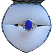 Antique English Lapis & Diamond 9K Ring, Hallmarked, Circa 1911