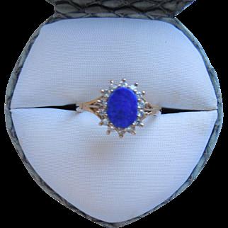 Antique English Lapis & Diamond 9K Ring, Hallmarked, Circa 1911