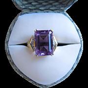 Vintage Large Emerald Cut Amethyst & Diamond Ring, 10K