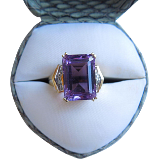 Vintage Emerald Cut Amethyst & Diamond Ring, 10K
