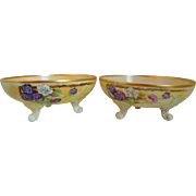Antique  P & P  Limoges Hand Painted Porcelain Berry Motif Footed Bowls, Set Of Two (Signed Artist L.M Goedecke 1912)