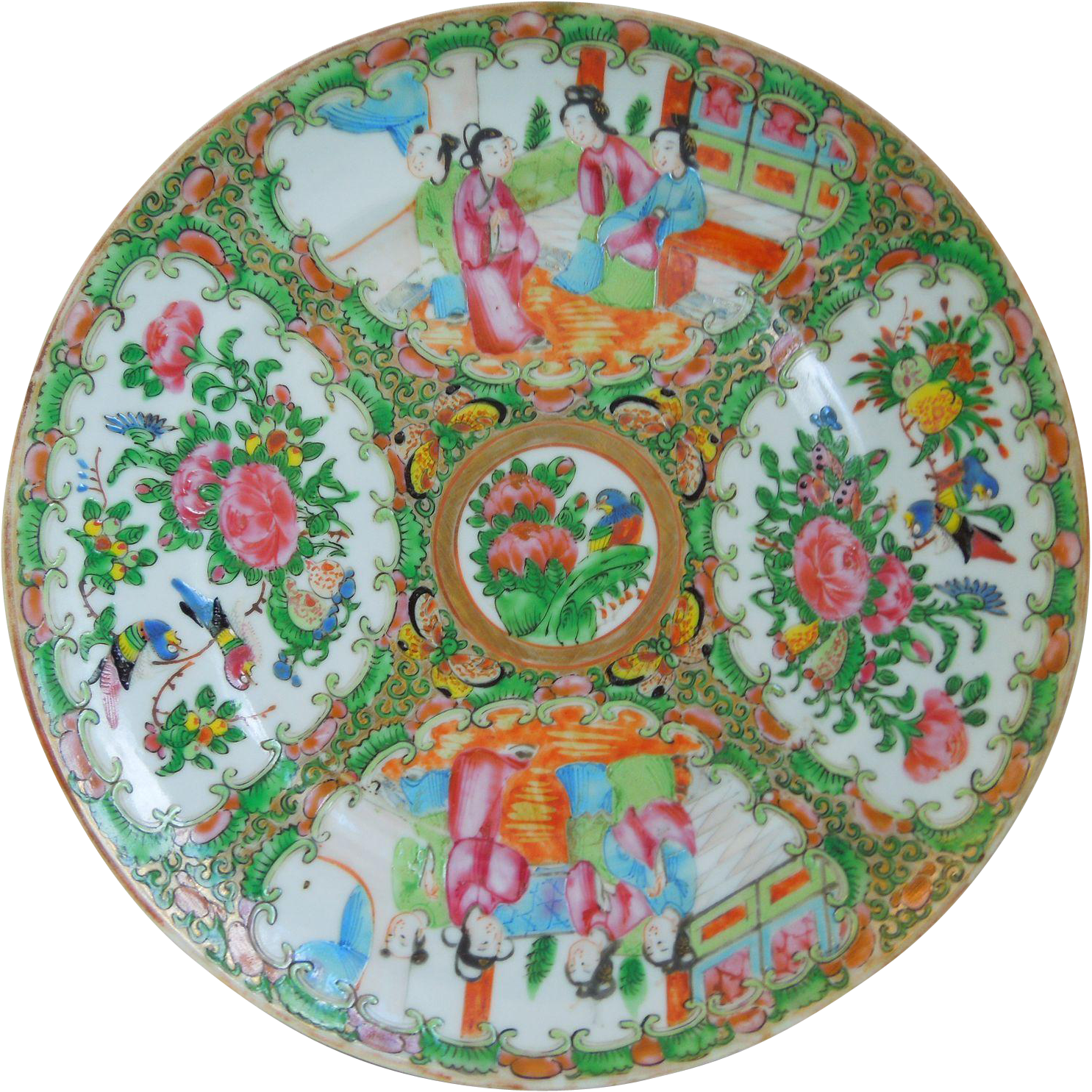 Antique 19th Century Chinese Rose Medallion Porcelain Plate