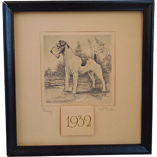 "Vintage Etching Of A Dog Terrier Entitled, ""Posing"" By Artist, M L French, Artist Signed, 1932"