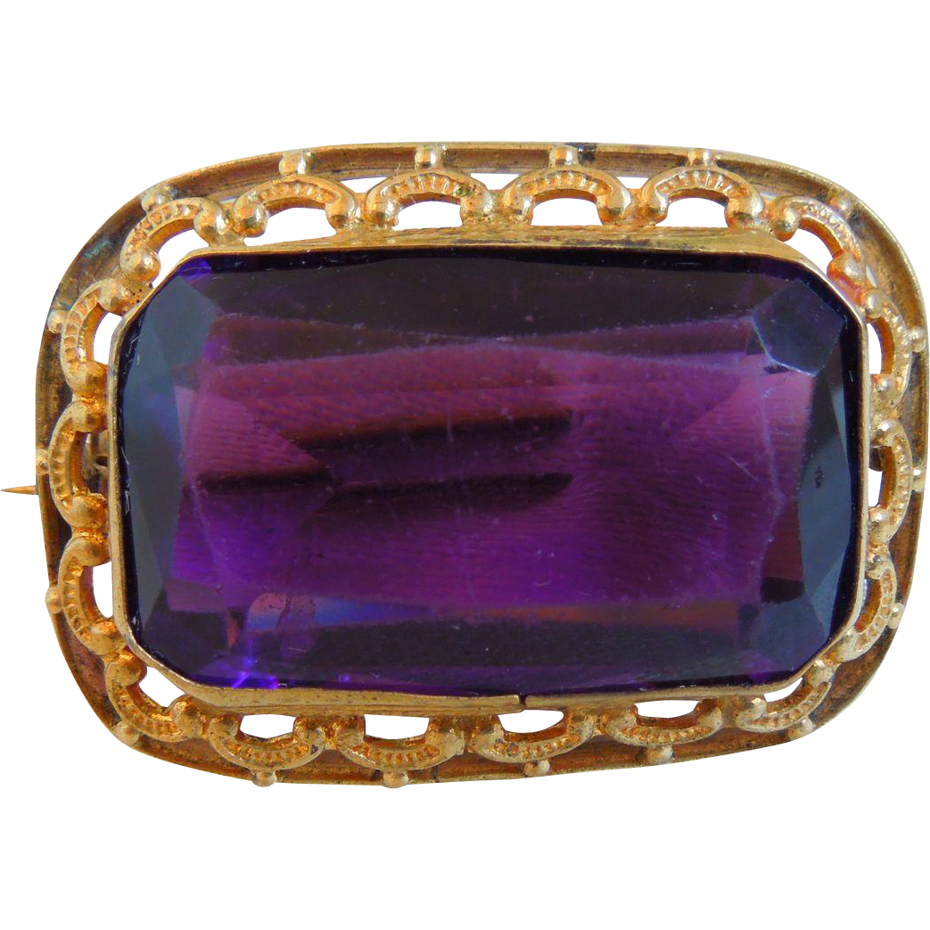 Victorian Amethyst And Gold Plated Pin Brooch