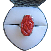 Antique Victorian Carved Natural Coral, Floral Motif, 18 K Gold Ring